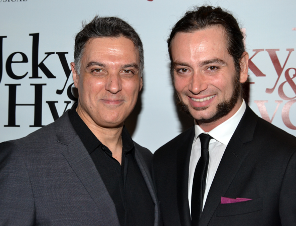 A pair of doctors: Original Broadway Jekyll, Robert Cuccioli, shares a photo with revival star Constantine Maroulis.<br />(© David Gordon)
