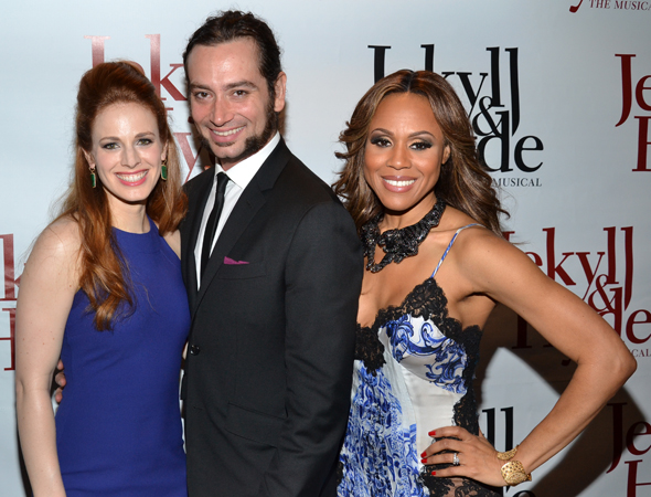 Teal Wicks, Constantine Maroulis, and Deborah Cox show off their snappy opening-night attire.<br />(© David Gordon)