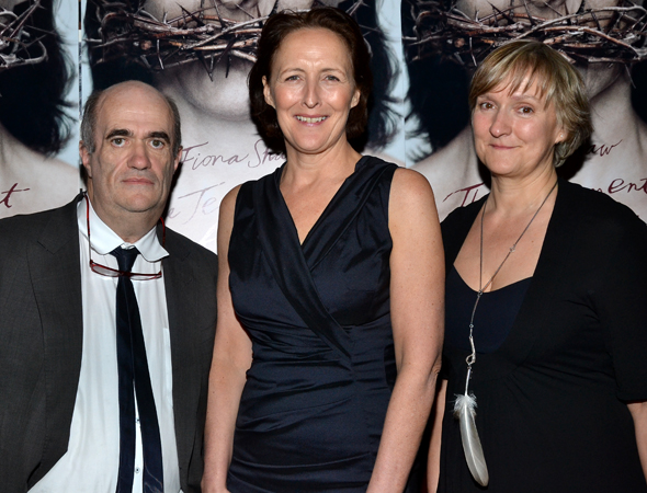 The proud <i>Testament of Mary</i> family: author Colm Tóibín, star Fiona Shaw, and director Deborah Warner.<br />(© David Gordon)