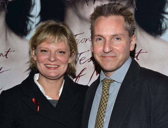 Martha Plimpton shares a photo with her pal, <i>Testament of Mary</i> scenic designer Tom Pye.<br />(© David Gordon)