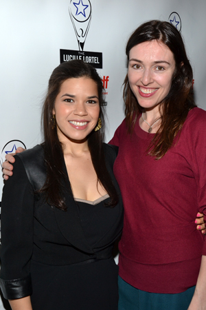 Acting nominee America Ferrera smiles alongside her <i>Bethany</i> playwright, fellow nominee Laura Marks.<br />(© David Gordon)