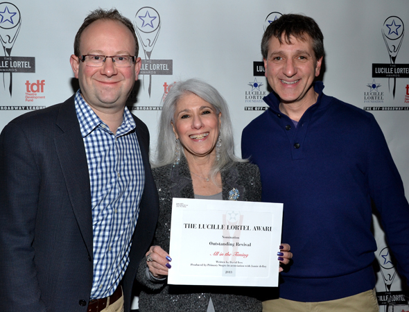<i>All in the Timing</i> coproducer Jamie deRoy smiles alongside her Primary Stages cohorts, Artistic Director Andrew Leynse (left) and Managing Director Elliot Fox (right).<br />(© David Gordon)