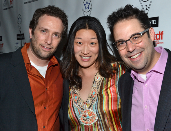 <i>The Other Josh Cohen</i> writers David Rossmer (left) and Steve Rosen (right) are thrilled to be nominated alongside their producer, Lily M. Fan.<br />(© David Gordon)