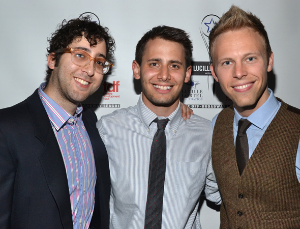 It's the <i>Dogfight</i> boys: nominees Peter Duchan, Benj Pasek, and Justin Paul.<br />(© David Gordon)