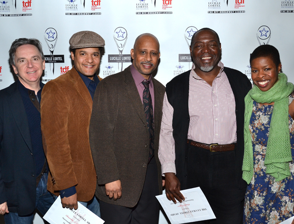 The happy <i>Piano Lesson</i> family, Signature Theatre Company Artistic Director James Houghton, actor Brandon J. Dirden, director Ruben Santiago-Hudson, and actors Chuck Cooper and Roslyn Ruff, celebrate their show's six nominations.<br />(© David Gordon)