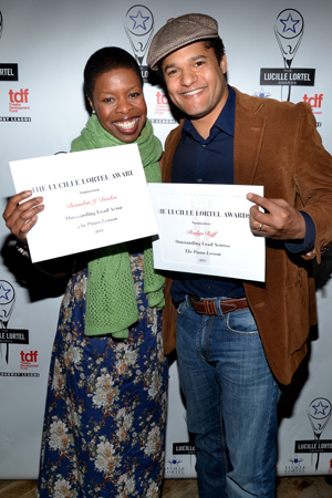 <i>Piano Lesson</i> costars Roslyn Ruff and Brandon J. Dirden show off their certificates.<br />(© David Gordon)