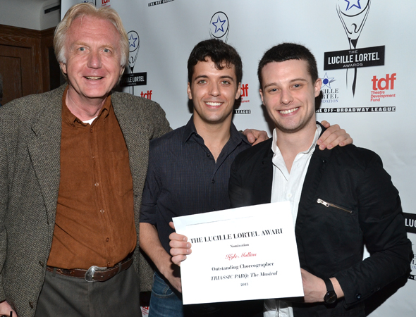 <i>Triassic Parq</i> choreographer Kyle Mullins (right) celebrates his nomination beside Amas Musical Theatre managing director Jan Hacha (left) and <i>Triassic Parq</i> director Marshall Pailet (center). <br />© David Gordon