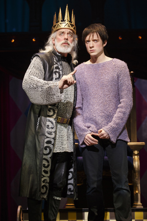 King Charles (Terrence Mann) giving some fatherly advice to his son Pippin (Matthew James Thomas)  <br />© Joan Marcus