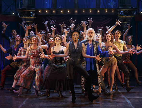 Rachel Bay Jones (Catherine), Andrea Martin (Berthe), Patina Miller (Leading Player), Terrence Mann (King Charles), Charlotte d'Amboise (Fastrada) and the company of <i>Pippin</i>  <br />© Joan Marcus
