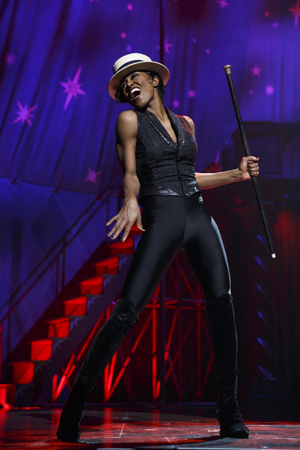 Patina Miller as Leading Player, the role originated by Ben Vereen in 1972 <br />© Joan Marcus