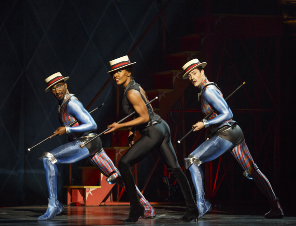 Patina Miller performs with some Fosse flare alongside Anthony Wayne (left) and Andrew Fitch (right)<br />© Joan Marcus