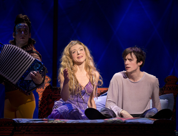 Ensemble member Gregory Arsenal plays a tune on the accordion as Catherine (Rachel Bay Jones) serenades Pippin (Matthew James Thomas)   <br />© Joan Marcus