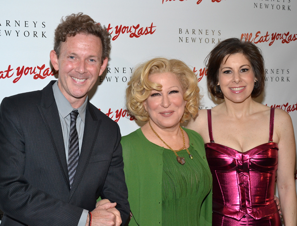 Bette Midler is flanked by her playwright, John Logan (left), and the show's producer, Arielle Tepper Madover (right).<br />(© David Gordon)
