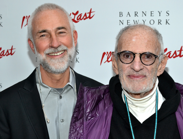 Legendary playwright/AIDS activist Larry Kramer (right) and his partner, David Webster (left), are eager to cheer on director Joe Mantello, who recently starred in Kramer's drama, <i>The Normal Heart</i>.<br />(© David Gordon)