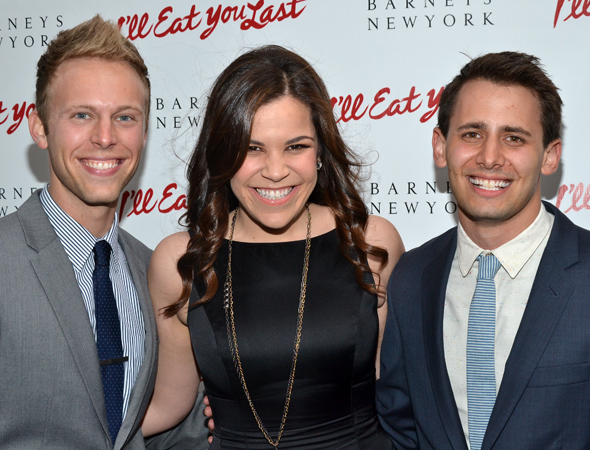 An evening out won't be a <i>Dogfight</i> for Justin Paul, Lindsay Mendez, and Benj Pasek.<br />(© David Gordon)
