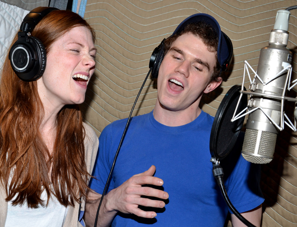 "Onstage would-be couple Allison Case and Jay Armstrong Johnson record their big duet, ""Gone.""<br />(© David Gordon)"