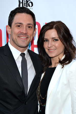 Tony Award winner Steve Kazee and his date for the evening, Sara Fitzpatrick, smile for the cameras.<br />(© David Gordon)