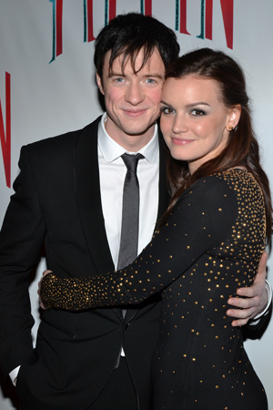 Matthew James Thomas (Pippin) snuggles up to his main squeeze, former <i>Spider-Man Turn Off the Dark</i> leading lady, Jennifer Damiano.<br />(© David Gordon)