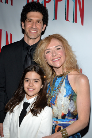 Rachel Bay Jones, who plays Pippin's lady-love, Catherine, shows off her proud family, partner Benim Foster and their daughter, Miranda.<br />(© David Gordon)