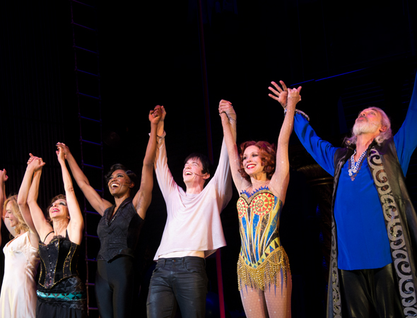 The <i>Pippin</i> principals are overjoyed as they take their curtain call.<br />(© David Gordon)