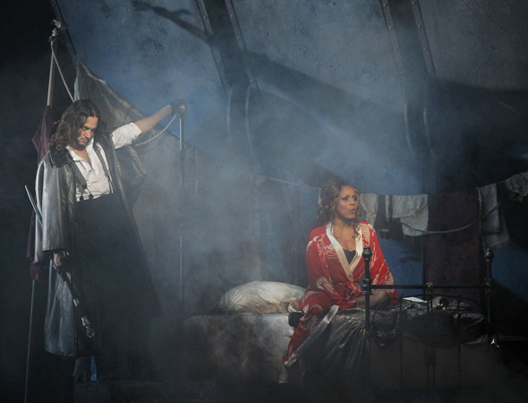 Constantine Maroulis and Deborah Cox lead the company of Frank Wildhorn and Leslie Bricusse's <i>Jekyll & Hyde</i>, which came to Broadway's Marquis Theatre on April 18 following a six-month national tour directed by Jeff Calhoun.<br />(© Chris Bennion)