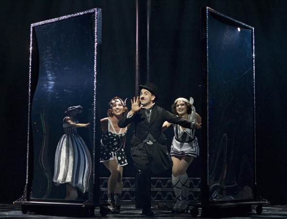 Rob McClure made a splash as Charlie Chaplin in Christopher Curtis and Thomas Meehan's biomusical <i>Chaplin</i>, which Warren Carlyle directed at the Ethel Barrymore Theatre and opened on September 10.<br />(© Joan Marcus)