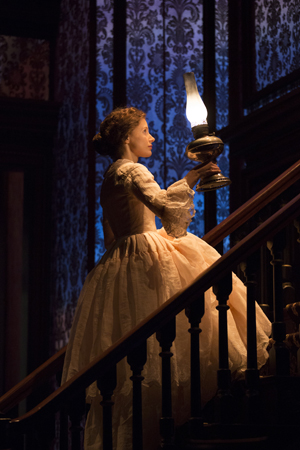 Jessica Chastain made her Broadway debut (opposite Dan Stevens, David Strathairn, and Judith Ivey) in Ruth and Augustus Goetz's <i>The Heiress</i>, directed by Moises Kaufman at the Walter Kerr Theatre and opening on November 1.<br />(© Joan Marcus)