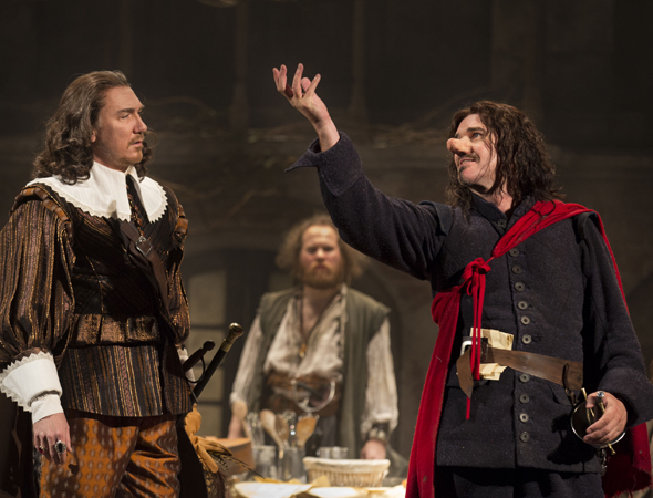 Douglas Hodge (right) returned to Broadway (opposite Patrick Page, Clémence Poésy, and Kyle Soller) in Roundabout Theatre Company's revival of <i>Cyrano de Bergerac</i>, which ran at the American Airlines Theatre under Jamie Lloyd's direction, opening October 11.<br />(© Joan Marcus)