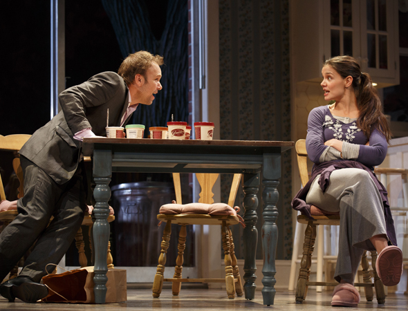 Norbert Leo Butz and Katie Holmes returned to Broadway in Theresa Rebeck's <i>Dead Accounts</i>, which opened at the Music Box Theatre on November 29 under the direction of Jack O'Brien.<br />(© Joan Marcus)