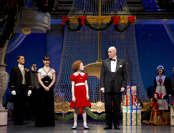 Lilla Crawford and Anthony Warlow are Annie and Daddy Warbucks in James Lapine's revival of the classic musical <i>Annie</i>, which opened at the Palace Theatre on November 8.<br />(© Joan Marcus)