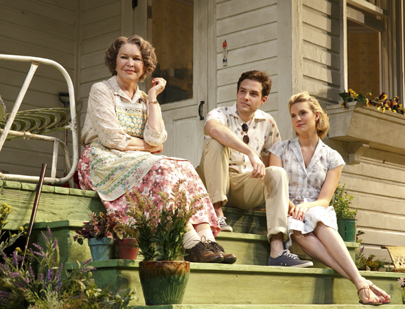 Ellen Burstyn, Ben Rappaport, and Maggie Grace were part of the ensemble cast of Roundabout Theatre Company's revival of William Inge's <i>Picnic</i>, which opened at the American Airlines Theatre on January 13 under the direction of Sam Gold. The production also starred Sebastian Stan, Mare Winningham, Elizabeth Marvel, and Reed Birney.<br />(© Joan Marcus)