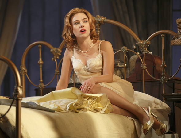Scarlett Johansson took on the iconic role of Maggie the Cat in Rob Ashford's revival of Tennessee Williams' <i>Cat on a Hot Tin Roof</i>, which opened at the Richard Rodgers Theatre on January 17. The production also starred Benjamin Walker, Ciarán Hinds, and Debra Monk.<br />(© Joan Marcus)