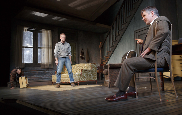 Tom Sturridge, Ben Foster, and Alec Baldwin starred in Daniel Sullivan's revival of Lyle Kessler's <i>Orphans</i>, which opened on April 18 at the Gerald Schoenfeld Theatre.<br />(© Joan Marcus)
