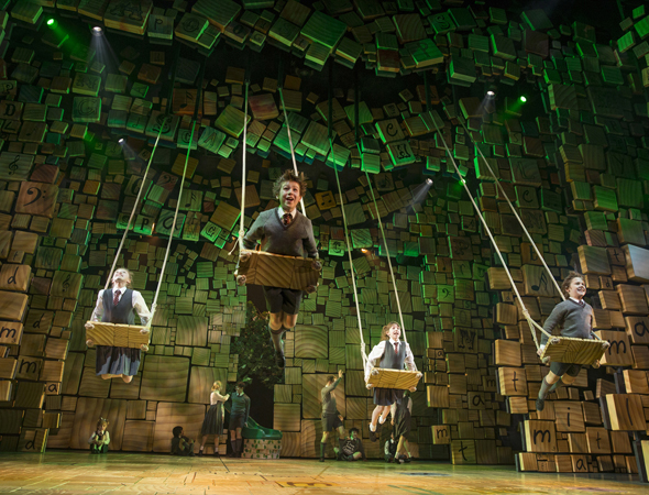 The ensemble cast of Broadway's <i>Matilda</i>, which opened under Matthew Warchus' direction at the Shubert Theatre on April 11.<br />(© Joan Marcus)