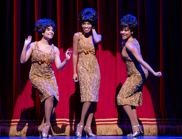 Valisia LeKae (center) stars as Diana Ross in <i>Motown: the Musical</i>, which opened at the Lunt-Fontanne Theatre on April 14, directed by Charles Randolph-Wright.<br />(© Joan Marcus)