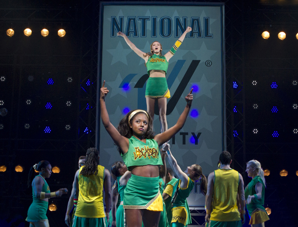 Adrienne Warren (foreground) and Taylor Louderman (background) led the cast of the Tom Kitt-Amanda Green-Lin-Manuel Miranda musical, <i>Bring It On</i>, at the St. James Theatre, which opened on August 1 under Andy Blankenbuehler's direction.<br />(© Joan Marcus)