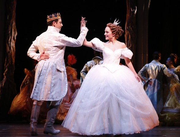 Santino Fontana and Laura Osnes lead the cast of Rodgers and Hammerstein's <i>Cinderella</i> at the Broadway Theatre. Mark Brokaw directs the musical comedy, which features a new book by Douglas Carter Beane, and opened on March 3.<br />(© Carol Rosegg)