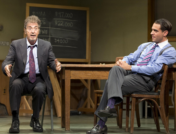 Al Pacino and Bobby Cannavale costarred in a revival of David Mamet's <i>Glengarry Glen Ross</i> at the Gerald Schoenfeld Theatre. Daniel Sullivan directed the dark comedy, which opened on December 8 and also featured Richard Schiff, John C. McGinley, and Jeremy Shamos.<br />(© Scott Landis)