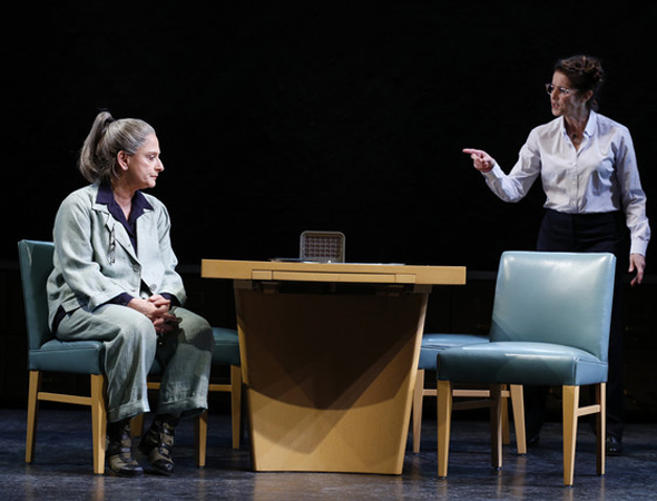 Patti LuPone and Debra Winger costarred in David Mamet's short-lived new drama, <i>The Anarchist</i>, which Mamet himself directed at the John Golden Theatre. The opening date was November 29.<br />(© Joan Marcus)