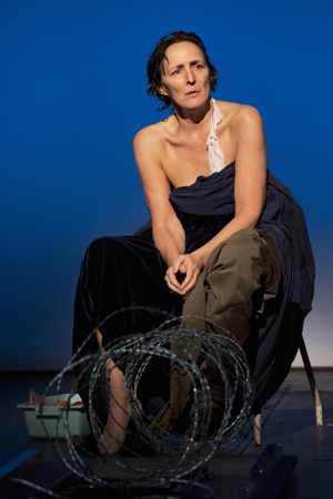 Fiona Shaw returned to Broadway on April 22 as the grieving Virgin Mary in Cólm Toibín's controversial <i>The Testament of Mary</i>, which Deborah Warner directs at the Walter Kerr Theatre.<br />(© Paul Kolnik)
