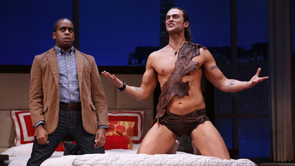 Daniel Breaker and Cheyenne Jackson costarred in David West Read's short-lived porn-industry comedy, <i>The Performers</i>, which Evan Cabnet directed at the Longacre Theatre. Opening November 14, the production also starred Ari Graynor, Alicia Silverstone, Jenni Barber, and Henry Winkler.<br />(© Carol Rosegg)