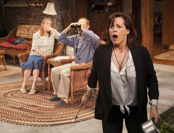 Kristine Nielsen, David Hyde Pierce, and Sigourney Weaver starr as a trio of daffy siblings in Christopher Durang's new Chekhov-inspired comedy, <i>Vanya and Sonia and Masha and Spike</i>, which transferred to Broadway's John Golden Theatre on March 14 under Nicholas Martin's direction.<br />(© T Charles Erickson)