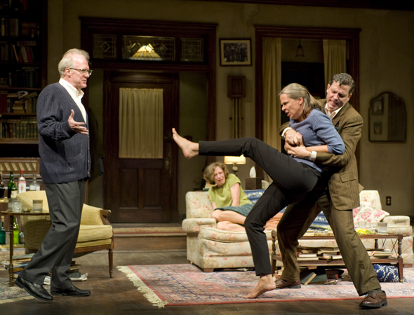 Tracy Letts, Carrie Coon, Amy Morton, and Madison Dirks star in Edward Albee's <i>Who's Afraid of Virginia Woolf?</i>, which opened at the Booth Theatre under the direction of Pam MacKinnon on October 13, 2012.<br />(© Michael Brosilow)