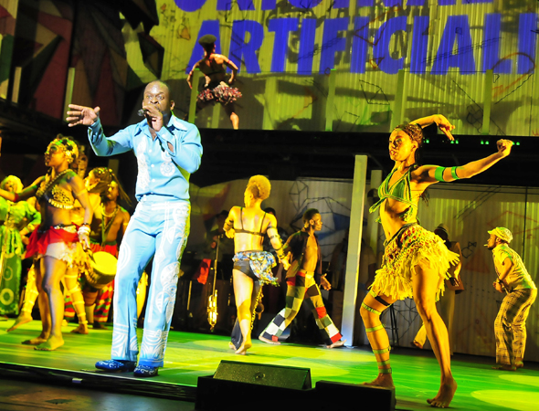 Bill T. Jones' musical <i>Fela!</i> returned to Broadway on July 12 for a brief run at the Al Hirschfeld Theatre.<br />(© Sharen Bradford)