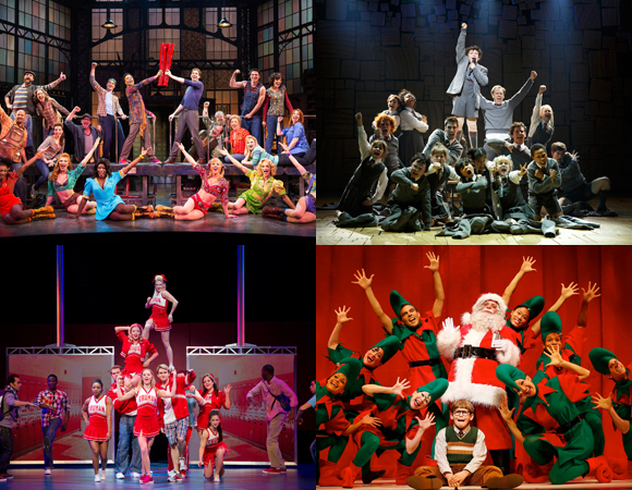 The 2013 Tony Award-nominated Best Musicals: (top) <i>Kinky Boots</i> and <i>Matlida</i>; (bottom) <I>Bring It On</i> and <i>A Christmas Story</i>.