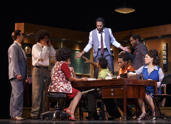 Brandon Victor Dixon and the cast of <I>Motown: The Musical</I>.