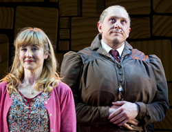 Original West End cast members Lauren Ward and Bertie Carvel in the Broadway production of <i>Matilda</i>