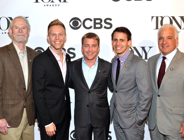 """As soon as we heard 'A Christmas Story,' Jews across the nation just started screaming out loud,"" said co-composer/lyricist Benj Pasek (fourth from left), seen here alongside fellow nominees Joseph Robinette (Book), co-composer/lyricist Justin Paul, producer Peter Billingsley, and producer Gerald Goehring.<br />(© David Gordon)"