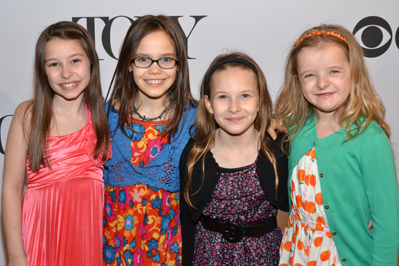 The four young ladies who play Matilda, Bailey Ryon, Oona Laurence, Sophia Gennusa, and Milly Shapiro, will receive special Tony Honors for Excellence in the Theatre.<br />(© David Gordon)