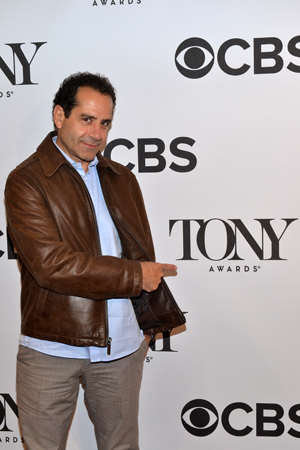 <i>Golden Boy</i>'s Tony Shalhoub finds his name on the backdrop!<br />(© David Gordon)